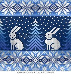 with penguins instead of the rabbits?seamless knitted pattern with snowflakes and rabbits Fair Isle Knitting Patterns, Fair Isle Pattern, Knitting Charts, Knitting Designs, Knitting Stitches, Knitting Projects, Crochet Chart, Cross Stitch Embroidery, Knit Stitches