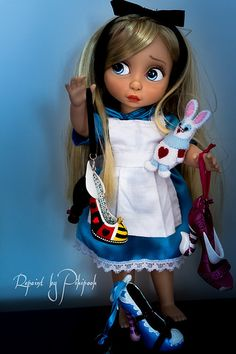 Alice rapunzel animator doll Repaint ooak custom poupée animator's collection disney rare tangled Alice au pays des merveilles Alice in wonderland   by Alison Animator Pikipook