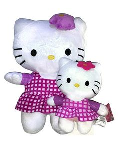0809589f2f Hello Kitty Mommy and Me Star Bow Purple Gingham Check Dress Plush Doll Toy Hello  Kitty