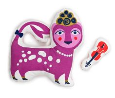 Jonathan Adler's new soft stuffed toy collection - a purple cheetah. With a violin. (Don't tell us you already have one.)