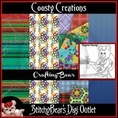 Crafting Bear Digital Stamp and Paper Pack