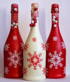 "Navidad Feliz Navidad is a Spanish phrase meaning ""Happy Christmas"" or ""Merry Christmas"". It may also refer to: Wine Bottle Glasses, Wine Bottle Art, Painted Wine Bottles, Lighted Wine Bottles, Diy Bottle, Wine Bottle Crafts, Decorated Bottles, Wine Glass, Bottle Centerpieces"