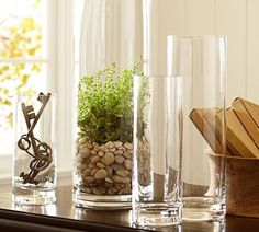 Aegean Clear Glass Vases | Pottery Barn; home accent centerpiece decor; vase fillers