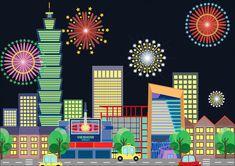 Taipei 101 firework illustrations