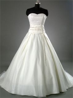 A-line Elegant Strapless Sweetheart with Beadings Lace Up Organza Satin Wedding Dress WD1046 www.tidedresses.co.uk $233.0000