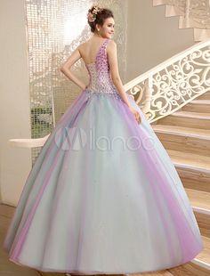 Vestido para quinceañeras de organza con escote a un solo hombro y pedrería Milanoo