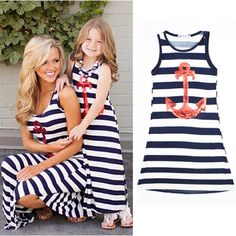 44a4579594b2 summer Girls Kids Dress Fashion White Striped Princess Dresses Anchor  pattern Mother girl Family fitted Maxi