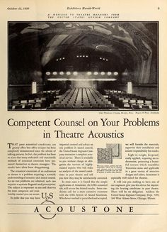 Ad for Acoustone featuring the Cape Cinema with its ceiling mural by artist Rockwell Kent. #cinema #theater #theatretalks #brooklyntheatreindex #rockwellkent