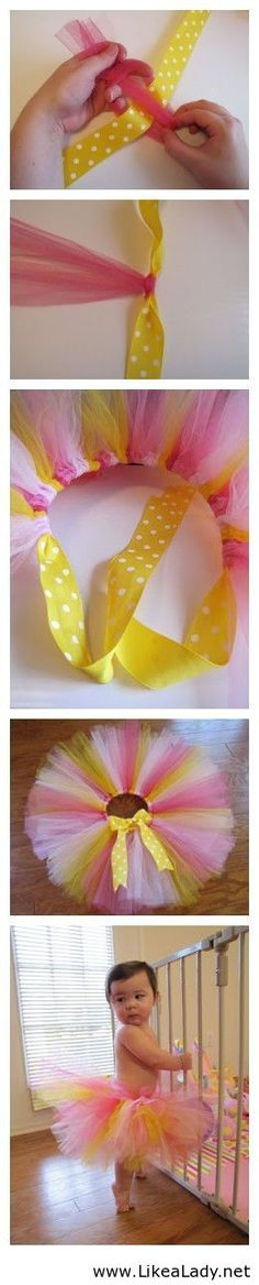 How to make a tutu - Use a ribbon so it's not one size.  It will grow with her as she gets bigger.  LOVE