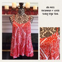 ❗️Price Drop❗️Ella Moss Swing Style Tank Top NWT☀️ Wonderful as ever by Ella Moss. Spaghetti strap swing style tank in 100% rayon. Ella Moss tops are made of such soft wearable fabrics! Tribal-like print in the Persimmon (Orange-ish) & White color combo. measurements to follow!!! (TZO) Ella Moss Tops Tank Tops