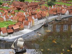 The miniature model of Copenhagen in front of Museum of Copenhagen in Copenhagen, Denmark. The detail shows the original beach, now Gammel Strand (Old Beach).