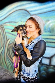 Doggy knows best ......Denim vest over black leather shirt -- great look....................... Visit us at Cybelle.com.au