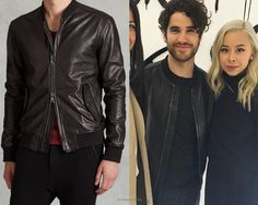 Darren Criss at the John Varvatos Fall/Winter 16 show in NYC on February 2, 2016.  Darren hit the John Varvatos show with his trusty stylist, Ashley Weston, by his side and a John Varvatos jacket on his back. The hefty price tag on this jacket makes it a likely loaned piece but it looks so good we can only hope it was gifted or bought.  John Varvatos Lambskin Leather Bomber - $1698