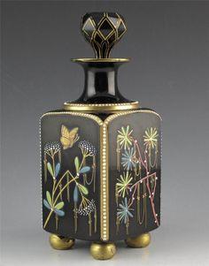 French Opaline Perfume Decanter Black Enamel Bird Butterfly 1870   eBay