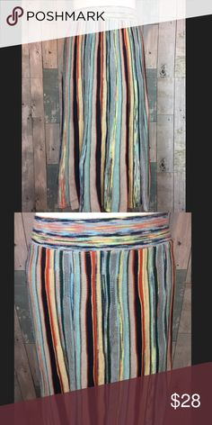 MOTH Multicolored Skirt Great condition. A few not noticeable pulls.. Waist measures 27 inches but is very stretchy elastic banding. Skirt is almost 29 inches in length. Shell is 44% rayon, 26% cotton, 21% acrylic, 5% nylon 3% wool and 1% alpaca. Lining is 60% cotton and 40% rayon.  Smoke free and pet free home!! Anthropologie Skirts Midi