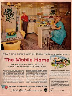 """Like the counter between kitchen/living area with open shelving above - would wrap the couch around & use the counter as a bar ... (Mobile Home Ad    """"McCall's""""  May 1958)"""