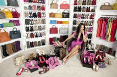 Kimora Lee Simmons: As the former head of Baby Phat and the ex-wife of the mega-rich mogul Russell Simmons, Kimoras stated that she likes her closets to look like boutiques, and has over 500 pairs of jeans and 35 custom-made Hermes Birkin bags.