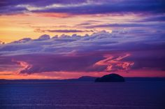 An incredible sunset on the 27th August 2013.  Bass Island from Dunbar, East Lothian, Scotland.