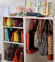 I have a tiny space in my closet that I'd love to put little hangers on and use if for purses! #brilliant idea