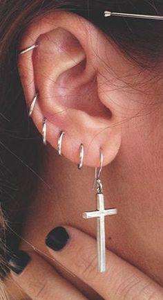 Minimalist Ear Piercing Ideas at MyBodiArt.com - Cartilage Helix Silver Rings Hoops #beautytatoos