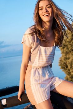 Slide View: 4: Striped Linen Romper