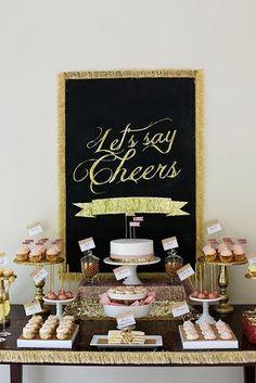 Glamorous gold wedding dessert table display - love the framed sign #wedding #gold #weddingdessert #desserttable #glitter
