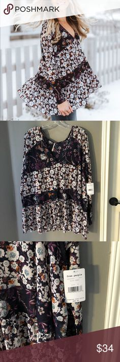 Free people Isabelle floral tunic blouse NWT Dial up your everyday style with this super chic floral tunic. Perfect for any causal occasion, this feel-good top features a mix of blossoming prints over semi-sheer fabric. Wear it with your favorite pair of jeans for a ready-to-go look. Free People Tops Blouses