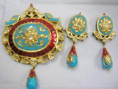 `Zevar | emporium | Diamond Polki Jewellery | Traditional | Indian | Bridal | Wedding | Kundan Meena | 22ct Gold
