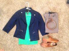 Fall Work: Black House White Market Navy Jacket, Ralph Lauren green lace tank top, Express Heathered-Rye Barely Boot Columnist, Frye Whiskey Jillian Oxford, Express camel belt
