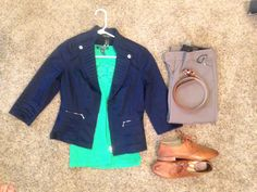Fall Work: Black House White Market Navy Jacket, Ralph Lauren green lace tank top, Express Heathered-Rye Barely Boot Columnist, Frye Whiskey Jillian Oxford, Express camel belt