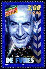 Louis de Funès Acteurs de cinéma français - Timbre de 1998