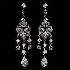 Vintage Inspired Silver CZ Dangling Chandelier Bridal Prom Wedding Earrings