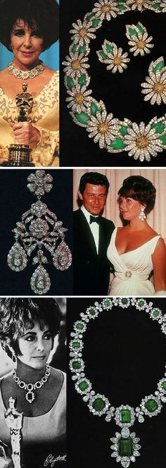"""Elizabeth Taylor collection, top: Daisy Parure from Van Cleef & Arpels; middle: the """"Mike Todd earrings"""", a gift from husband No. her favorite diamond earrings; bottom: Bulgari emerald necklace, a gift from Richard Burton, husband Nos. Royal Jewels, Crown Jewels, Bijoux D'elizabeth Taylor, Elizabeth Taylor Schmuck, Bracelet Chanel, Emerald Necklace, Diamond Earrings, Ruby Earrings, Diamond Necklaces"""