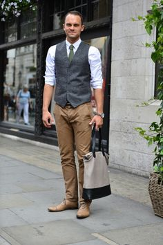 Waistcoat, no jacket. Simple style for Indian Summer days.