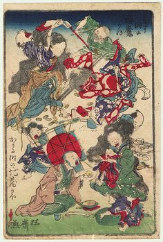 Attacking a Demon and Boy with a Kite by Kyosai (1831 - 1889)