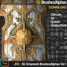 JRO - 55 Ornament Brushes/Alphas Vol 1, jonas ronnegard on ArtStation at https://www.artstation.com/artwork/BDwrr