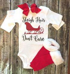 Sewing Ideas For Baby Christmas Onesie, Baby Girl Christmas Onesie, Christmas Shirt, Sleigh Hair Don't Care Onesie, Onesie For Baby Girls - Our onesies are a huge hit! Baby Christmas Onesie, Christmas Shirts, Christmas Clothes, Christmas Outfits, Christmas Projects, Baby Shirts, Onesies, Kids Shirts, T Shirt Women