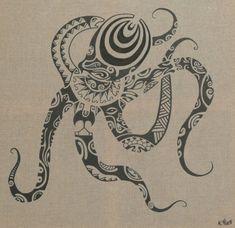 Dessin Croquis de Poulpe Pieuvre Maori Tentacules Polynésiens