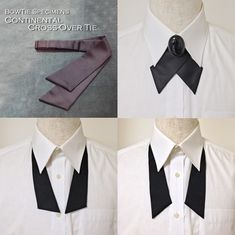 Continental Tie (Cross Over Tie) Styling / BowTie Specimens Classy Outfits, Pretty Outfits, Cool Outfits, Indian Men Fashion, Womens Fashion, Cravat Tie, Shirt Collar Styles, Victorian Costume, Fashion Cover