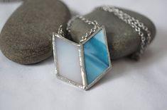 Stained Glass Jewelry -  Bluebird 'Alita' Necklace - Geometric & Modern