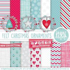 Felt Christmas Ornaments Clipart and digital by LagartixaShop