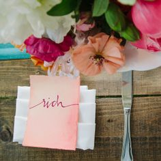 Coral Place Settings | Photo by: Our Labor Of Love | Event Planning: Ashley Baber | Wedding Location: Barnsley Gardens Resort | Rental Equipment: I Do Linens Centerpieces: Amy Osaba