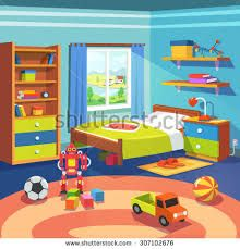 Buy Boys Room by IconicBestiary on GraphicRiver. Boy room with big window suffused with light. With bed, cupboard, shelves, and toys on the floor. Home Design 2017, House Design, Casa Retro, Cupboard Shelves, Cartoon Background, Toy Rooms, Big Windows, Bedroom Carpet, House Rooms