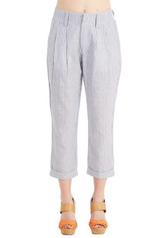 Seaside Myself Pants. How does the thought of sporting these striped pants make you feel? #blue #modcloth