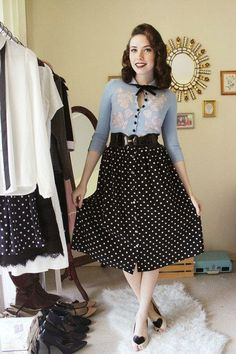 Samantha K. is pinup-y in polka dots! II Get the look: http://www.modcloth.com/shop/skirts/musee-matisse-skirt-in-black-dots #stylegallery