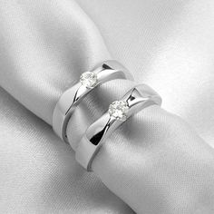 Name Engraved Birthday gift couple rings swiss diamond - $37