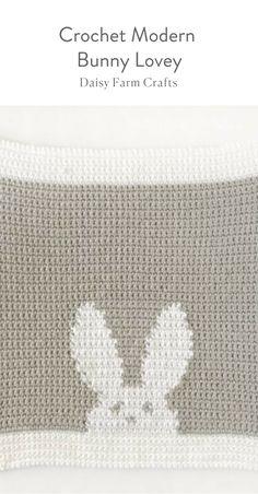 Free Pattern - Crochet Modern Bunny Lovey Blanket
