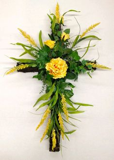 Spring Season Memorial Grape Vine Cross with Yellow Long-Stem Roses, Peony and Wild Powdery Yellow flowering Design arrangement Grave Flowers, Cemetery Flowers, Church Flowers, Funeral Flowers, Funeral Floral Arrangements, Church Flower Arrangements, Deco Floral, Arte Floral, Easter Wreaths