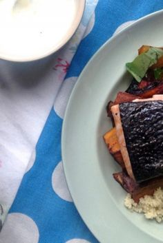 A simple and healthy salmon and sweet potato traybake