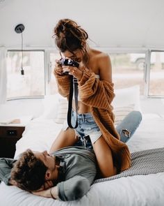 Love - couple - photograph - cardigan - denim shorts - relationship - in bed Cute Couples Photos, Cute Couple Pictures, Cute Couples Goals, Couples In Love, Couple Goals, Romantic Pictures, Couple Pics, Love Couple, Couple Photoshoot Poses